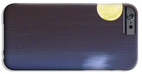 Sea Moon Full Moon Paintings iPhone Cases - Offset Moon iPhone Case by Alys Caviness-Gober
