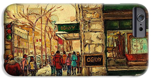 Winter Storm Paintings iPhone Cases - Ogilvys Department Store Downtown Montreal iPhone Case by Carole Spandau