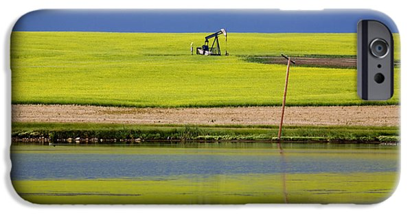 Industry iPhone Cases - Oil Jack Reflection Saskatchewan iPhone Case by Mark Duffy