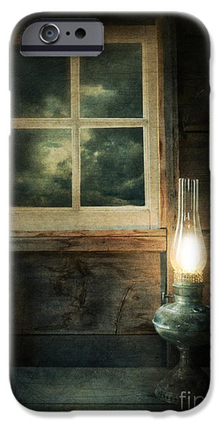Night Lamp iPhone Cases - Oil Lamp on Table by Window iPhone Case by Jill Battaglia