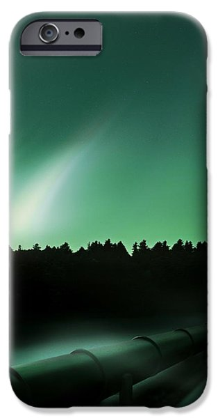 Recently Sold -  - Forest iPhone Cases - Oil Pipeline And Aurora iPhone Case by Richard Kail