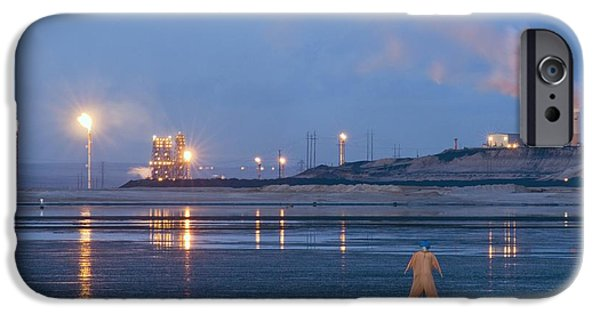 Oil Reserves iPhone Cases - Oil Plant Scarecrow iPhone Case by David Nunuk