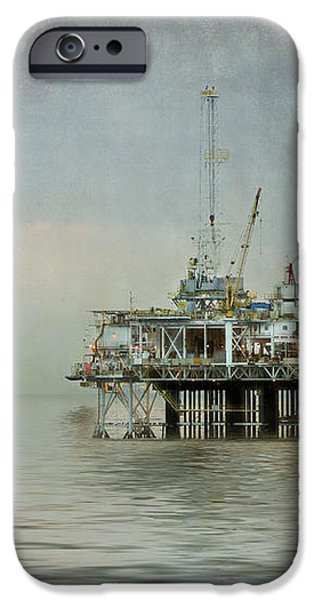 Oil Platform Under the Moon Textured iPhone Case by Susan Gary