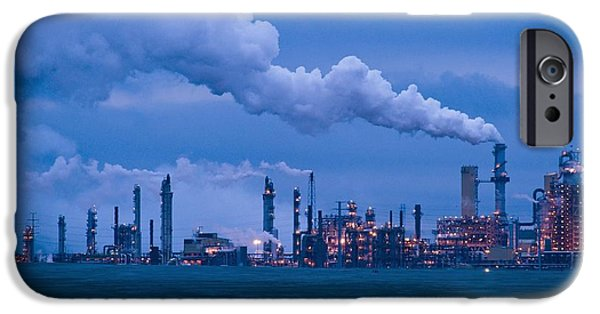 Tailings iPhone Cases - Oil Refinery At Dusk iPhone Case by David Nunuk