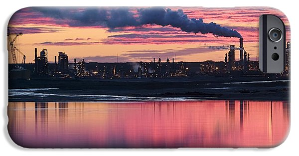 Tailings iPhone Cases - Oil Refinery At Sunset iPhone Case by David Nunuk