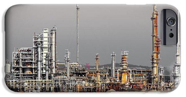 Technology iPhone Cases - Oil Refinery iPhone Case by Carlos Caetano