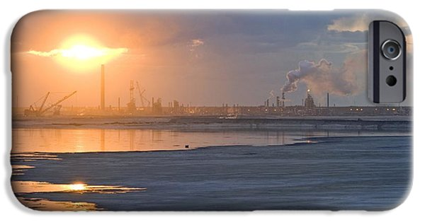 Tar Sands iPhone Cases - Oil Refinery Near Sunset iPhone Case by David Nunuk