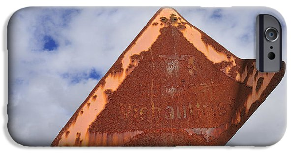 Traffic Sign iPhone Cases - Old and rusty traffic sign iPhone Case by Matthias Hauser