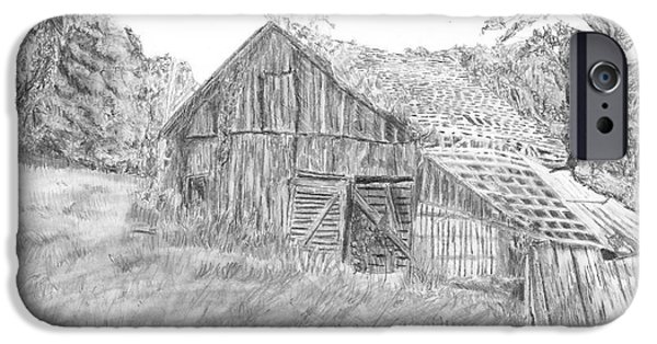 Recently Sold -  - Old Barn Drawing iPhone Cases - Old Barn 3 iPhone Case by Barry Jones