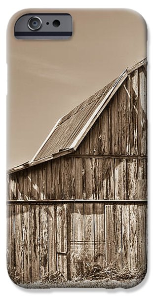Old Barn in Sepia iPhone Case by Douglas Barnett