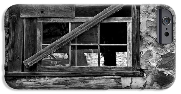 Balck Art iPhone Cases - Old Barn Window iPhone Case by Perry Webster
