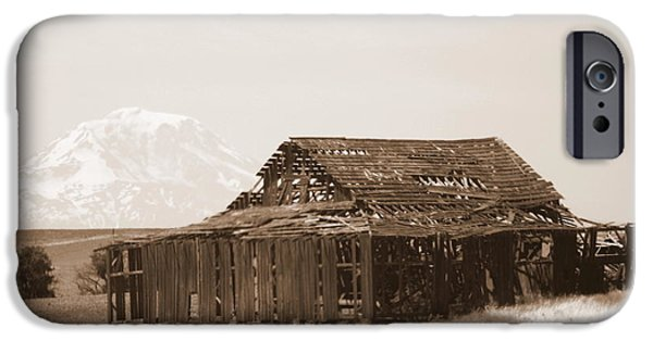 Old Barns iPhone Cases - Old Barn with Mount Hood in Sepia iPhone Case by Carol Groenen