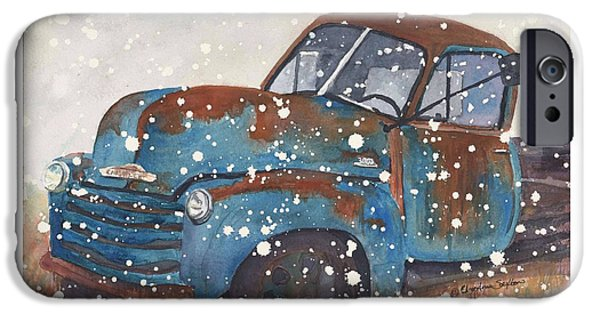 Snowy Day iPhone Cases - Old Blue Chevy Winter Storm iPhone Case by CheyAnne Sexton