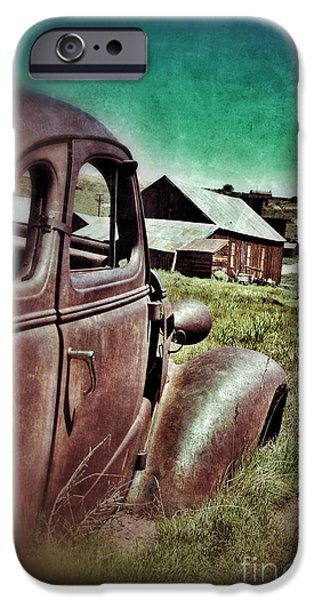 Old Car and Ghost Town iPhone Case by Jill Battaglia