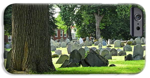 Headstones iPhone Cases - Old cemetery in Boston iPhone Case by Elena Elisseeva