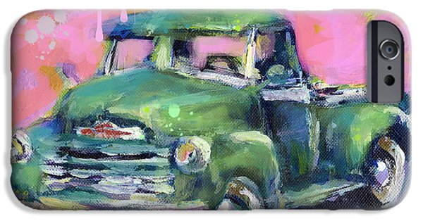 Giclee Mixed Media iPhone Cases - Old CHEVY Chevrolet Pickup Truck on a street iPhone Case by Svetlana Novikova