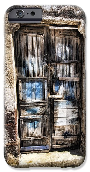 Abstract Digital Pyrography iPhone Cases - Old Door iPhone Case by Mauro Celotti
