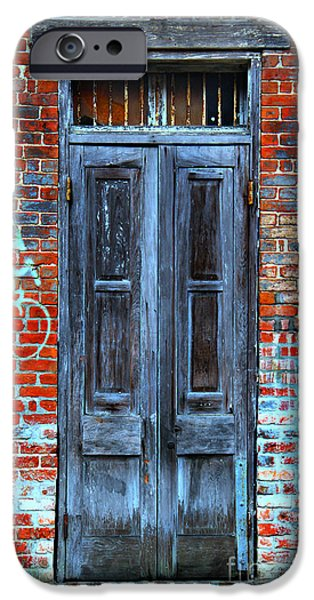 Historical Pictures iPhone Cases - Old Door With Bricks iPhone Case by Perry Webster