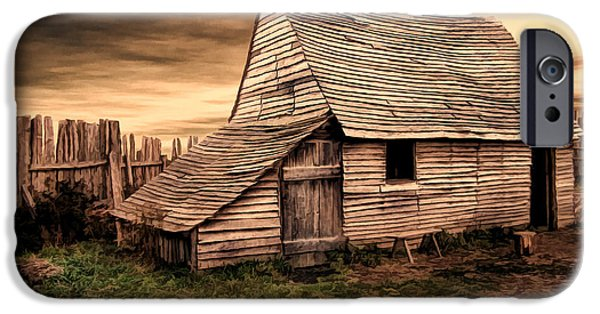 Hut iPhone Cases - Old English Barn iPhone Case by Lourry Legarde