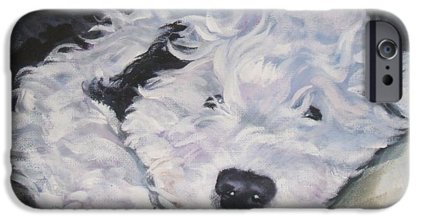 Puppies iPhone Cases - Old English Sheepdog Pup iPhone Case by Lee Ann Shepard