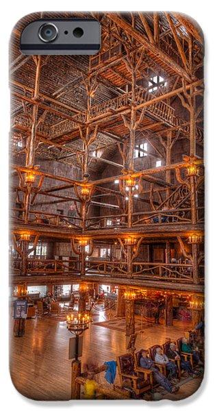 Yellowstone iPhone Cases - Old Faithful Lodge iPhone Case by Steve Gadomski