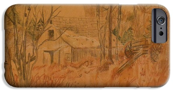 Old Barn Drawing iPhone Cases - Old Farm iPhone Case by Carman Turner