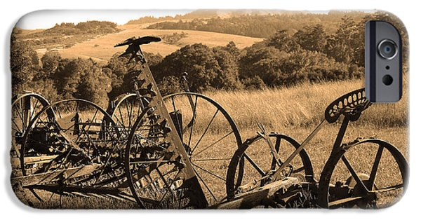 Mower iPhone Cases - Old Farm Equipment . 7D9744 . Sepia iPhone Case by Wingsdomain Art and Photography