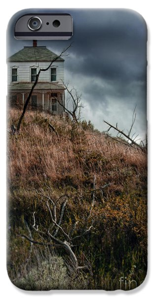 Home Improvement iPhone Cases - Old Farmhouse with Stormy Sky iPhone Case by Jill Battaglia