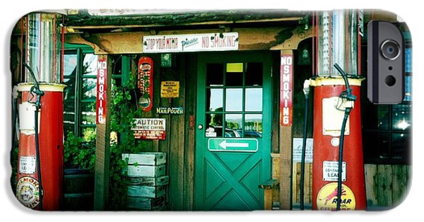 Sign iPhone Cases - Old Fashioned Filling Station iPhone Case by Nina Prommer