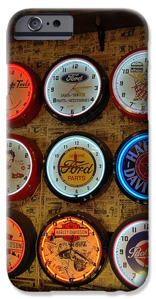 Betty Ford iPhone Cases - Old Fashioned Neon Time Clocks iPhone Case by LeeAnn McLaneGoetz McLaneGoetzStudioLLCcom