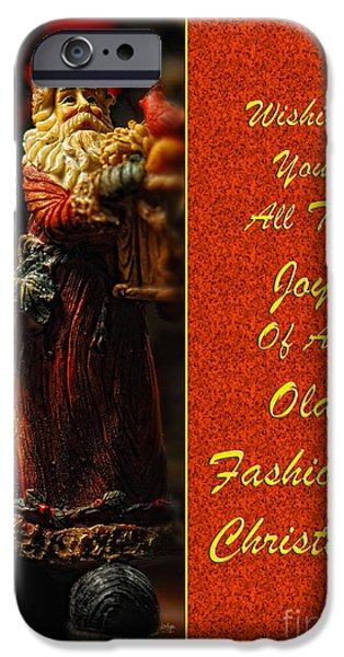 Christmas Greeting iPhone Cases - Old Fashioned Santa Christmas Card iPhone Case by Lois Bryan