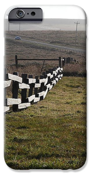 Old Fence And Landscape Along Sir Francis Drake Boulevard At Point Reyes California . 7D9897 iPhone Case by Wingsdomain Art and Photography