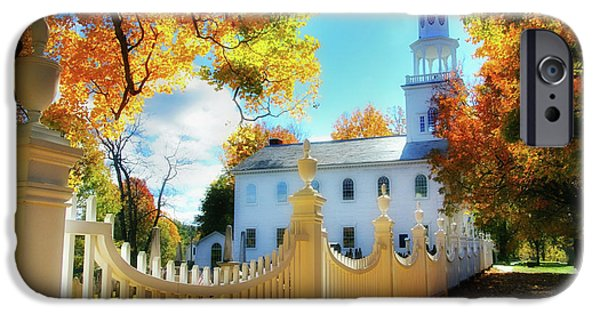 Recently Sold -  - Cemetary iPhone Cases - Old First Church of Bennington iPhone Case by Thomas Schoeller