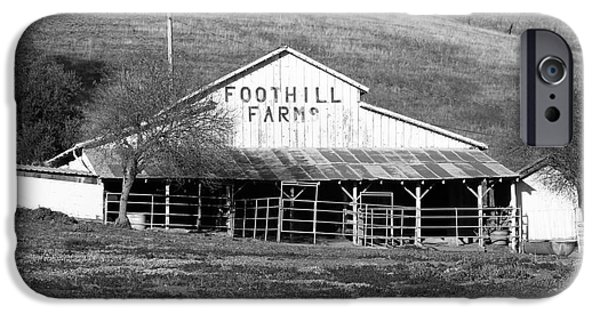 Old Barn Photo Photographs iPhone Cases - Old Foothill Farms in Small Town of Sunol California . 7D10796 . bw iPhone Case by Wingsdomain Art and Photography