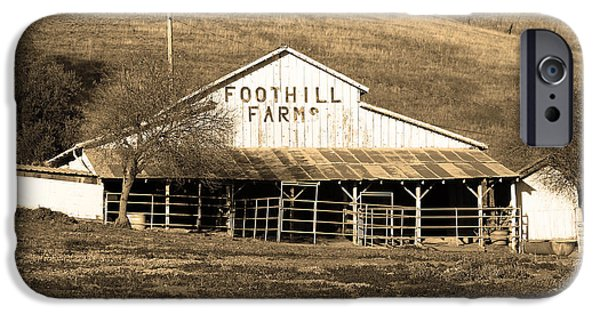 Old Barn Photo Photographs iPhone Cases - Old Foothill Farms in Small Town of Sunol California . 7D10796 . sepia iPhone Case by Wingsdomain Art and Photography