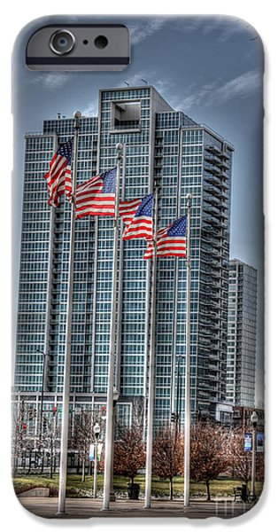 Soldier Field iPhone Cases - Old Glory iPhone Case by David Bearden