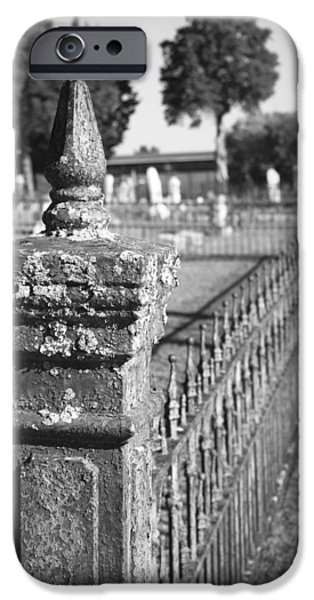 Final Resting Place iPhone Cases - Old Graveyard Fence in Black and White iPhone Case by Kathy Clark