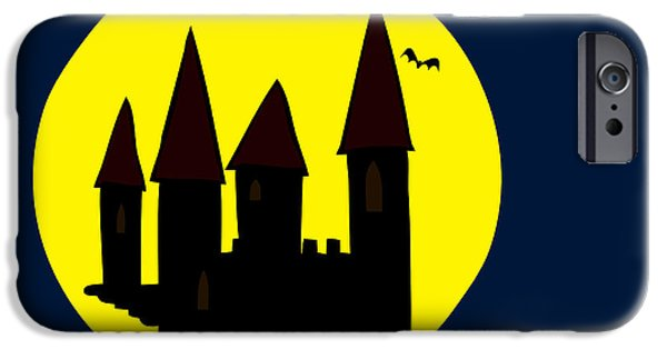 Eerie Drawings iPhone Cases - Old Haunted Castle In Full Moon iPhone Case by Michal Boubin