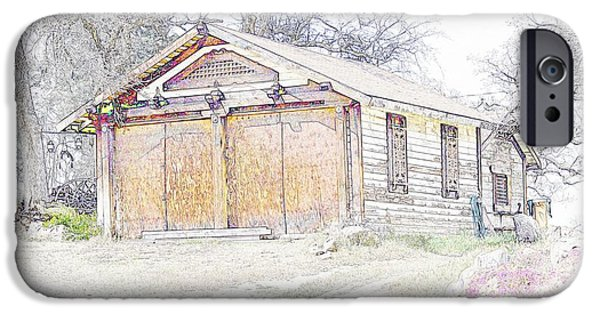 Old Barn Drawing iPhone Cases - Old House iPhone Case by Thomas Medaris