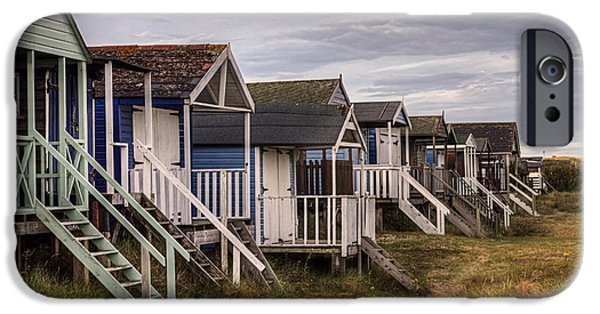 Hut iPhone Cases - Old Hunstanton Beach Huts North Norfolk United Kingdom iPhone Case by John Edwards