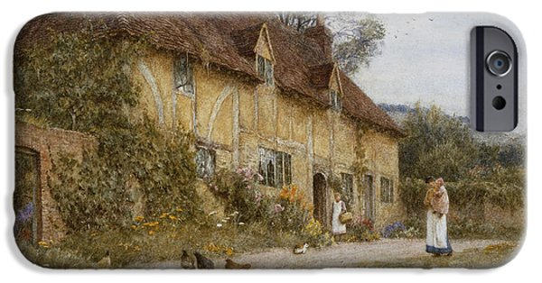 19th Century iPhone Cases - Old Kentish Cottage iPhone Case by Helen Allingham