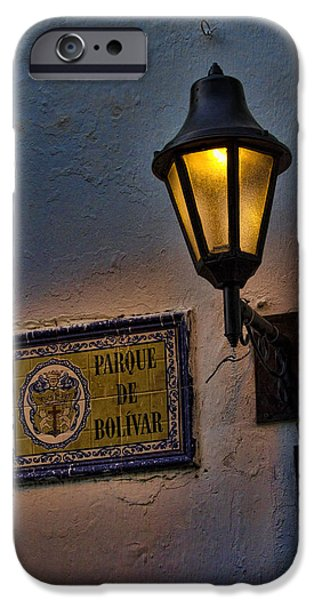 Old lamp on a colonial building in old Cartagena Colombia iPhone Case by David Smith