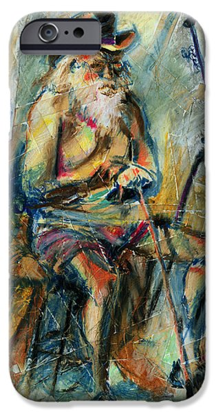 Figure Drawing iPhone Cases - Old Man in the Chair iPhone Case by David Finley