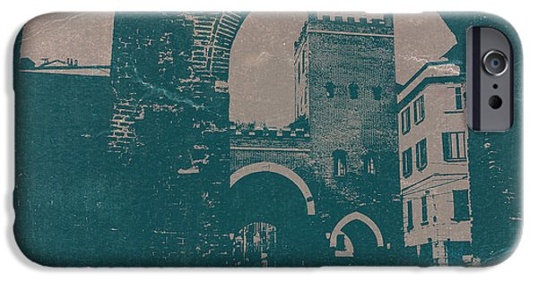 Towns Digital Art iPhone Cases - Old Milan iPhone Case by Naxart Studio
