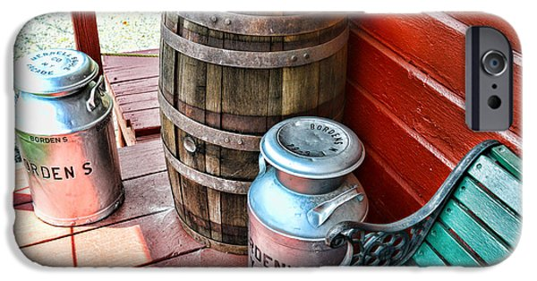 Rain Barrel iPhone Cases - Old milk cans and rain barrel. iPhone Case by Paul Ward