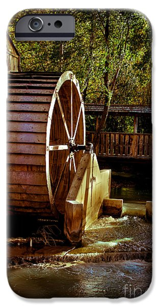 Feed Mill Photographs iPhone Cases - Old Mill Park Wheel iPhone Case by Robert Bales