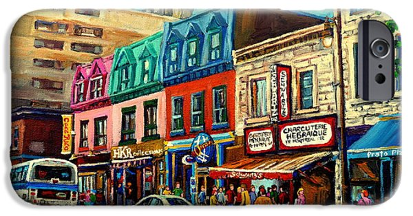 Montreal Land Marks Paintings iPhone Cases - Old Montreal Schwartzs Deli Plateau Montreal City Scenes iPhone Case by Carole Spandau