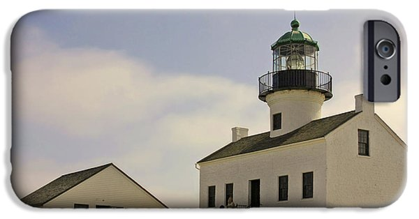 Lightstations iPhone Cases - Old Point Loma Lighthouse - Cabrillo National Monument San Diego CA iPhone Case by Christine Till