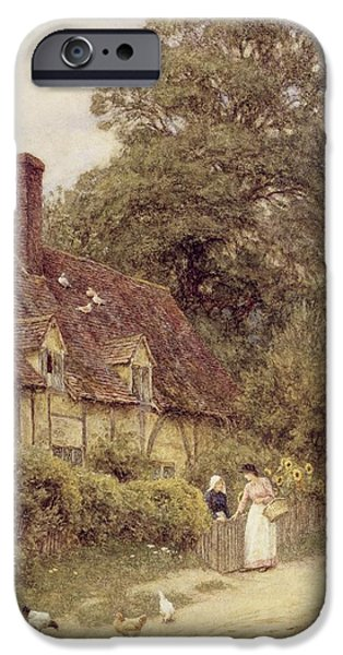 Country iPhone Cases - Old Post Office Brook near Witley Surrey iPhone Case by Helen Allingham