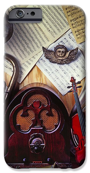 Sheets iPhone Cases - Old radio and music instruments iPhone Case by Garry Gay